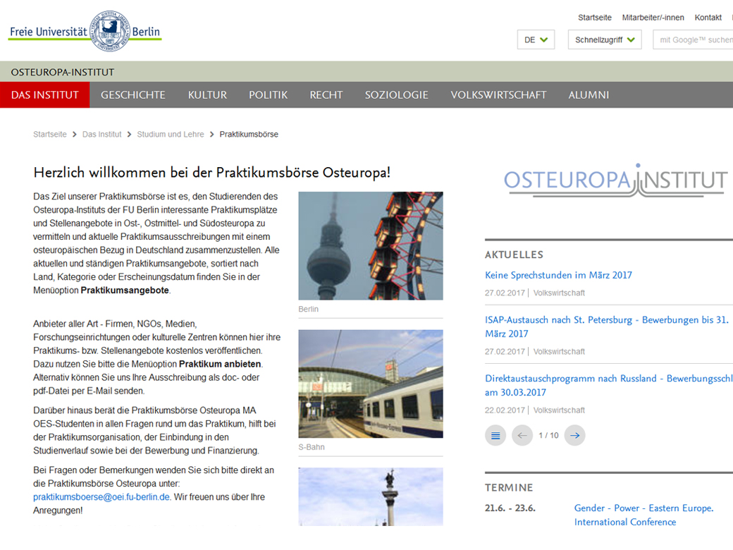 Screenshot Homepage oei.fu-berlin.de