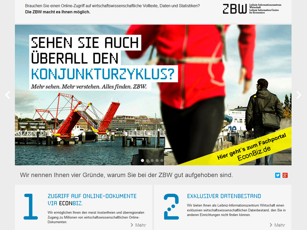 Screenshot Homepage alles-finden-zbw.eu