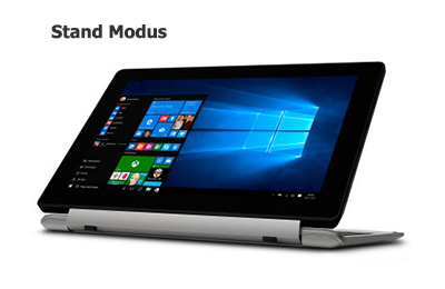 Aldi Full-HD Tablet-Notebook Medion E1240T im Stand Modus