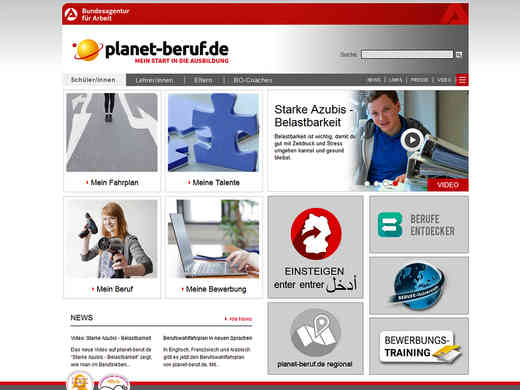 Screenshot Homepage planet-berufe.de