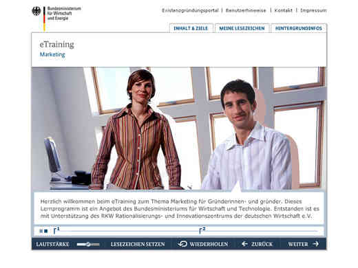 Screenshot E-Learning Marketing von existenzgruender.de