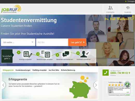 Screenshot Homepage jobruf.de