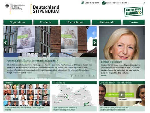 Screenshot Homepage deutschlandstipendium.de