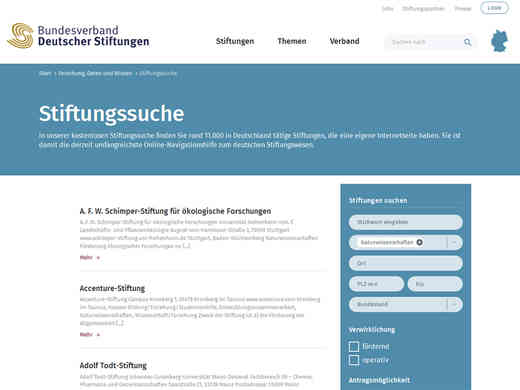 Screenshot Homepage Bundesverband Deutscher Stiftungen