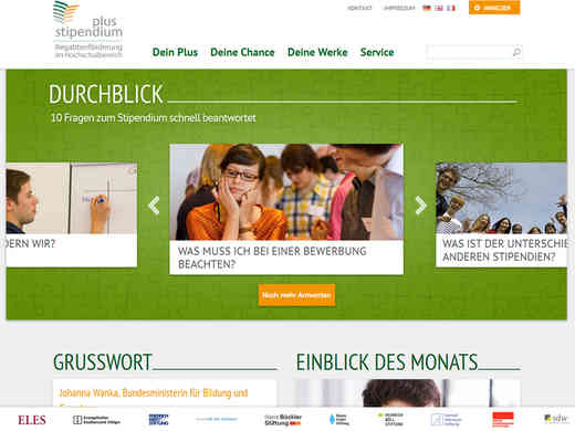 Screenshot Homepage stipendiumplus.de