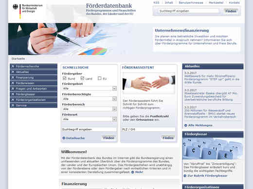 Screenshot Homepage foerderdatenbank.de