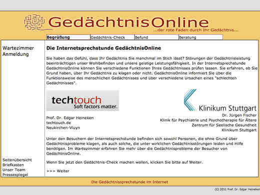 Screenshot Homepage gedaechtnisonline.de