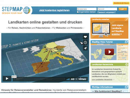 Screenshot Homepage stepmap.de