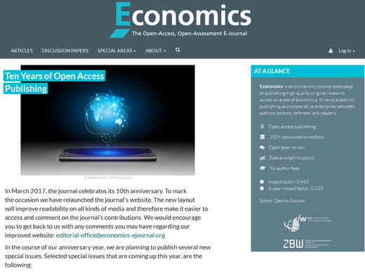 Screenshot Homepage economics-ejournal.org