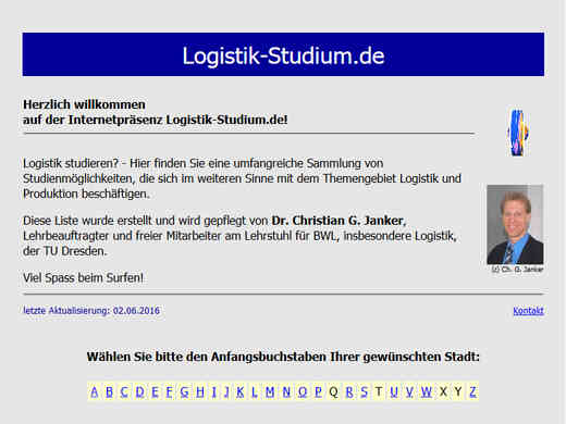 Screenshot der Internetseite logistik-studium.de