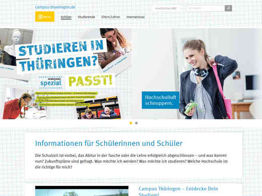 Screenshot der Internetseite campus-thueringen.de