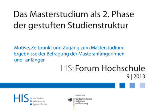 Cover HIS-Studie zum Masterstudium 09|2013