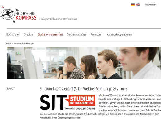 Screenshot Studium-Interessentest (SIT) Homepage HRK
