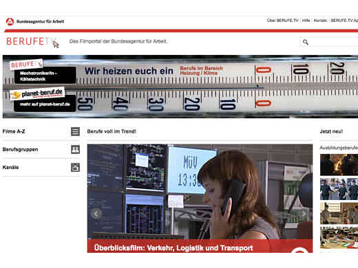 Screenshot Homepage Berufe.tv