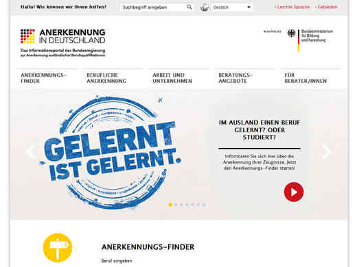 Screenshot Homepage anerkennung-in-deutschland.de