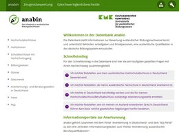 Screenshot Homepage anabin.kmk.org