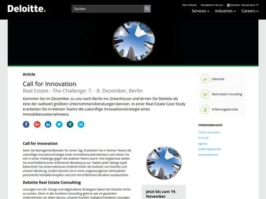 Screenshot der Website zur Deloitte Real Estate Challenge 2017.