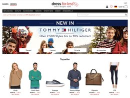 Screenshot der Website www.dress-for-less.de einem Online-Outletstore für Designermode.