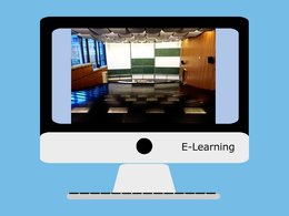 E-Learning: Bick am Monitor in einen Hörsaal per Videostream.