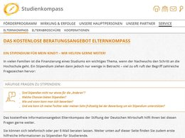 Screenshot Homepage Elternkompass