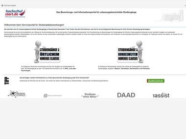 screenshot homepage hochschulstartde - Fernuni Hagen Bewerbung