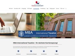 Screenshot der Internetseite der Albert-Ludwigs-Universität Freiburg zum MBA International Taxation.
