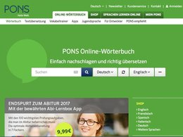 Screenshot Homepage pons.de