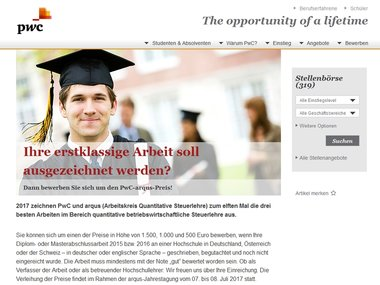 Screenshot Homepage pwc-karriere.de/studenten-absolventen/arqus/