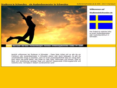 Screenshot Homepage studiereninschweden.de