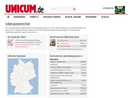 Screenshot Homepage Unicum Lebenskostenrechner
