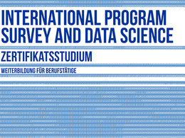 "Grafik mit Binärcode und typografischen Elementen ""International Program Survey and Data Science!"